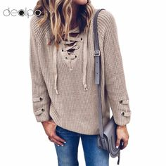 Cheap lace sweater, Buy Quality lace up sweater directly from China women sweaters and pullovers Suppliers: 2018 Women Sweater and Pullovers female V Neck Knitted Lace up Sweater Striped Bandage Cross Ties Tops Loose Casual Long Jumper
