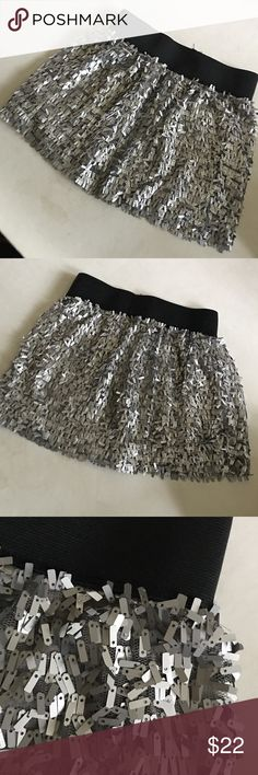 Flower by Zoe silver / black skirt Awesome short skirt for girls. Dress up or down. Excellent condition. Super cute! Flowers by Zoe Bottoms Skirts