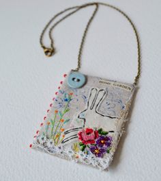 Pendant Necklace - Textile - hand stitched and embroidered - Hare by hensteeth on Etsy