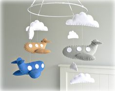 Airplane mobile - baby mobile - You pick your colors - Blue, beige and gray felt airplanes white clouds -  Nursery decor