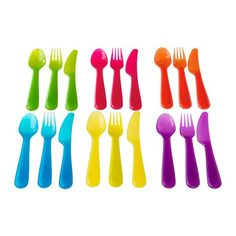 Ikea Kalas Children's Kids Plastic Cutlery Set NEW COLOURS . Colours: pink, white, yellow, green, blue and orange-red. Microwave-safe up to i. for thawing and warming food. Operation Christmas Child Boxes, Friendly Plastic, Plastic Spoons, Plastic Silverware, Flatware Set, Cutlery Trays, Baby Feeding, Kids Christmas, Christmas Dishes