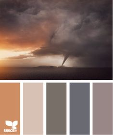 Tornado Tones: Sunset Copper, Taupe, Cloudy Gray, Stormy Blue and Wisteria Purple