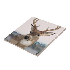 Whitetail Deer Double Exposure Tile
