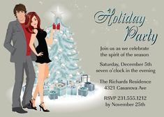 Couples Holiday Party Invitations Christmas by AnnounceItFavors Holiday Cocktails, Holiday Parties, Christmas Party Invitations, Font Styles, Text Color, Party Planning, Couples, Celebrities, Reception Ideas