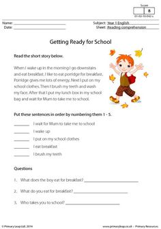 PrimaryLeap.co.uk - Reading comprehension - Getting Ready for School Worksheet