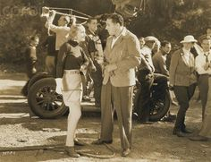 "Carole Lombard and director, Walter Lang, (soon to be husband of ""Fieldsie"" Carole's close friend and social secretary), on the set of ""Love Before Breakfast""."