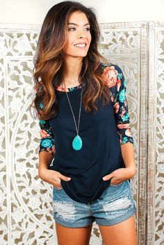 Flowers for life! This trend is still burning hot and just in time. This lightweight floral raglan sleeved tops is a staple for any wardrobe. I mean, it's got f