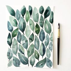 "1,160 mentions J'aime, 26 commentaires - Kristin Van Leuven (@hellolovelypeople_) sur Instagram : ""It started out as one leaf and ended up as a full page of leaves. Blending colors and watching how…"""