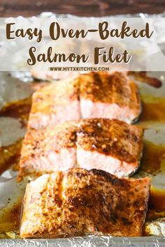The perfect recipe for cooking a salmon filet for one in the oven. Customize with your favorite seasoning for an easy dinner entrée ready in less than 30 minutes! #salmon #salmonrecipe #dinnerideas Recipe Using Salmon, Quick Salmon Recipes, Scallop Recipes, Fish Recipes, Seafood Recipes, Dinner Recipes, Baked Salmon Filets, Oven Baked Salmon, Recipe Maker