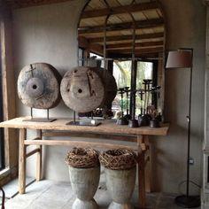 Stoere oud houten sidetable werkbank landelijk