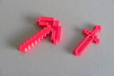 3D printed minecraft sword and pickaxe