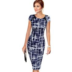 Buy VfEmage Women's 2016 Spring Summer Printed Synthetic Leather Wear to Work Office Business Casual Pencil Dress vestidos 1755 at Wish - Shopping Made Fun Dress Vestidos, Mini Vestidos, Vestidos Vintage, Vintage Dresses, Amazon Mode, Cheap Dresses, Dresses For Work, Office Dresses, Casual Dresses