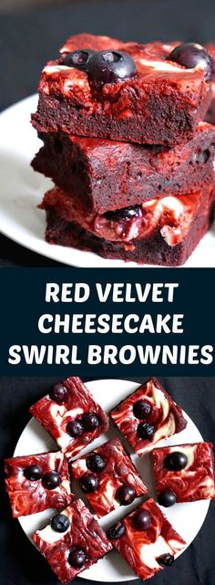 Red Velvet Cheesecake Swirl Brownies with Blueberries, a red, white and blue twist on the classic brownie recipe. Equally decadent and rich, these brownies are heavenly scrumptious.