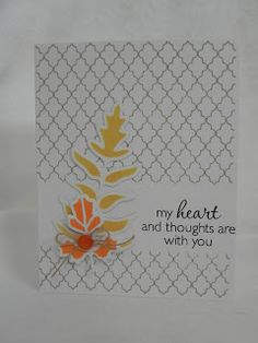 Michelle of My Passion for Crafting makes a gorgeous one layer card using the Lattice background and masking. Sweet die-cut embellishments too.