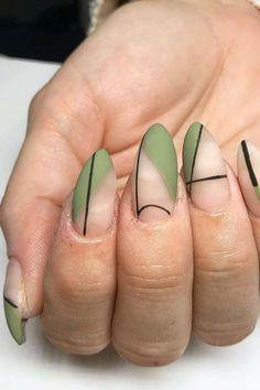 Green Nail Designs, Cute Acrylic Nail Designs, Green Nail Art, Green Nails, Acrylic Nails Coffin Short, Cute Acrylic Nails, Stylish Nails, Trendy Nails, Edgy Nails