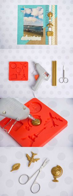 Learn how to make using scrapbook embellishments with Mod Melts and Molds! Perfect for capturing your memories on a page. Learn how to make scrapbook embellishments with Mod Melts and Molds! Perfect for capturing your memories on a pretty page. How To Make Scrapbook, Scrapbooking Layouts, Scrapbook Cards, Scrapbook Titles, Online Scrapbook, Travel Scrapbook, Kids Crafts, Craft Projects, Arts And Crafts