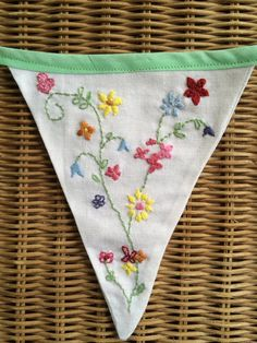 No vintage table cloths were harmed in the making of this bunting! Beautiful, hand-embroidered floral bunting – inspired by vintage table cloths. 7