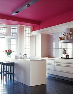pink ceiling #kitchen #office