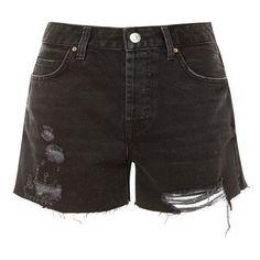 Women's Topshop Ashley Ripped Denim Boyfriend Shorts (1,065 MXN) ❤ liked on Polyvore featuring shorts, boyfriend denim shorts, cutoff shorts, mid rise shorts, boyfriend shorts and denim shorts