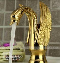 Elegant Design Luxury Swan Golden Bathroom Basin Faucet
