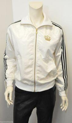 Womens White Satin Black-3 Stripe Fringe Gold Crown Logo Zip-Up Jacket Size 38 #adidas #BasicJacket