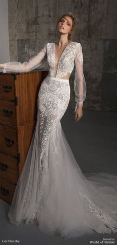 Vintage Wedding Dresses Long sleeves fit and flare wedding dress, Boho wedding dress : Lior Charchy Fall 2018 Wedding Long Sleeve Wedding, Wedding Dress Sleeves, Boho Wedding Dress, Boho Dress, Dresses With Sleeves, Sleeve Dresses, Wedding Dresses 2018, Designer Wedding Dresses, Bridal Dresses