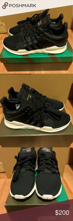 NEW ADIDAS EQT ADV BLACK AND WHITE SIZE 10 Original black and white adidas equipment adv lace up   Sold out everywhere   Size 10  Deadstock.  100% authentic.  Will be shipped with original box and protection box.  No trades.  Price is firm.  No returns for incorrect size, size is as described in description  Check out my account for more shoes and sizes!  Tags:Adidas, Jordan, Nike, retro, boost, Yeezy, ultra boost, prime knit, supreme, make up, contacts Adidas Shoes