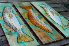 Fish redfish painting on rustic reclaimed by ADorsettOriginals