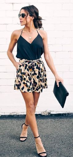 black and white leopard print shorts #spring #outfits Mode Outfits, Short Outfits, Stylish Outfits, Fashion Outfits, Womens Fashion, Fashion Clothes, Skirt Fashion, Teen Fashion, Shorts Outfits Women