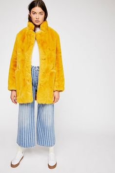 59419db77a93 Sophie Coat - Mustard Furry Fur Coat Faux Fur Jacket