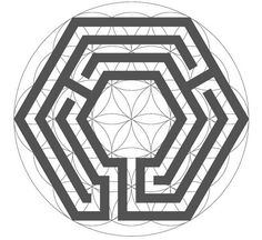The switched hexagonal labyrinth inside the Flower of Life Labyrinth Tattoo, Labyrinth Garden, Parks, Stone Lantern, Flower Of Life, Ancient Symbols, Hexagon Shape, Garden Stones, Source Of Inspiration