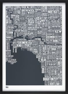 Show your love for your great city with this stunning typography map of Melbourne. The Melbourne type map is a hand pulled screen print by Bold & Noble. Melbourne Map, Melbourne Apartment, Melbourne Central, Word Map, City Of Adelaide, Clifton Park, Decorative Screens, Vintage Maps, Cartography