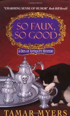 So Faux, So Good (A Den of Antiquity Mystery) by Tamar Myers http://www.amazon.com/dp/0380792540/ref=cm_sw_r_pi_dp_rMbAvb1NPB01G