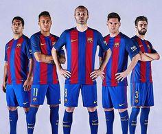 Le nouveau maillot du FC Barcelone pour la saison 2016-2017 Iniesta Messi Neymar Piqué
