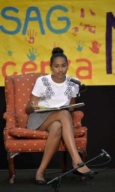 Sasha Obama reads fairy tales to children at the United States and Nato military base in Vicenza on June 19, 2015.