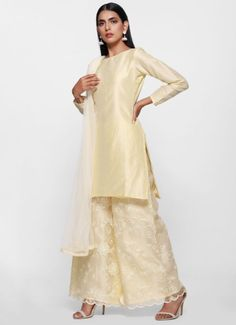 This cream dupion shift dress with boat neck and full sleeves is paired with pretty organza palazz. Palazzo Suit, Clothing Websites, Dress Cuts, Scalloped Hem, Salwar Kameez, Cold Shoulder Dress, Lady, Pretty