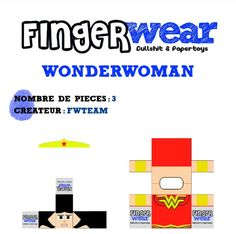 Blog_Paper_Toy_papertoys_MPD_FingerWear_WonderWoman_template_preview Ribbon Cards, Paper Ribbon, Sauf, Christmas Paper Crafts, Paper Toys, Gift Packaging, Baby Shower Decorations, Finger, Blog