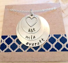 Hand Stamped Family Necklace for Mother or by UniquelyImprint