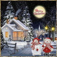 Merry Christmas Gif, Merry Christmas And Happy New Year, Christmas Pictures, Christmas Snowman, Winter Christmas, Xmas, Christmas Ornaments, Beautiful Gif, Snow Scenes