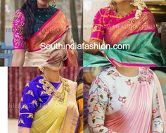 high neck blouse designs, pattu saree blouse designs, silk saree blouse designs, aari work blouse, maggam blouse designs