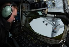 U.S. Air Force Tech. Sgt. Daniel Maas, 351st Air Refueling Squadron instructor boom operator from Hoskins, Neb., pumps fuel into a French air force E-3 Sentry serving in a NATO capacity April 10, 2014, over Eastern Europe. The 351st ARS is the only aerial refueling squadron in the U.S. Air Forces in Europe, serving both Europe and Africa. (U.S. Air Force photo by Airman 1st Class Dillon Johnston/Released)