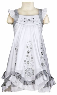 DN_026 - Girls Dress Style 026- WHITE Babydoll Cotton Dress with Floral Embroidery - $28.99 and Under - Flower Girl Dress For Less