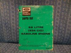 1977 Ford Power Products 8.8L 534 CID Gasoline Engine Original OEM Parts List #Ford