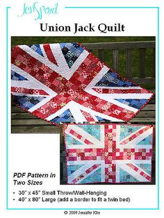 I finally got around to drafting a pattern for my Union Jack quilt! Flag Quilt, Patriotic Quilts, Quilt Blocks, Panel Quilts, Union Jack, Quilting Projects, Sewing Projects, Quilting Ideas, Craft Projects