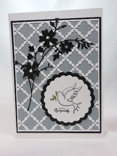 black, white, gray with trellis and delicate die cut floral...lovely card...