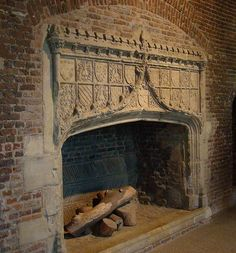 A fireplace from medieval Tattershall Castle in Lincolnshire, showing the brick construction that was put in late in the period. Shiplap Fireplace, Concrete Fireplace, Fireplace Hearth, Stove Fireplace, Marble Fireplaces, Fireplace Remodel, Fireplace Inserts, Fireplace Design, Craftsman Fireplace