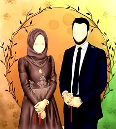 Cute Muslim Couples, Romantic Couples, Cute Couples, Hijab Cartoon, Bride Cartoon, Muslim Couple Photography, Couple With Baby, Javanese Wedding, Islamic Cartoon