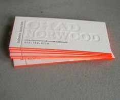 Cool Letterpress Design with a bright orange edge finish