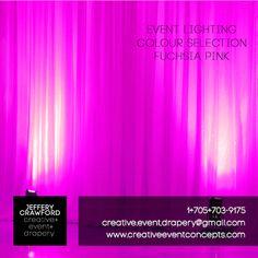 Event Lighting Colour Selections | Jeffery Crawford Creative Event Drapery | 1+705+703+9175 | creative.event.drapery@gmail.com | www.creativeeventconcepts.com