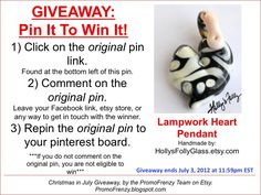 GIVEAWAY - Pin It To Win It: To Win This Item from HollysFollyGlass, follow the instructions: Click on ORIGINAL pin, comment leaving a way to contact you, REPIN the ORIGINAL Pin! Contest ends 7/3/12 @ 11:59pm EST. Winner announced 7/4/12.